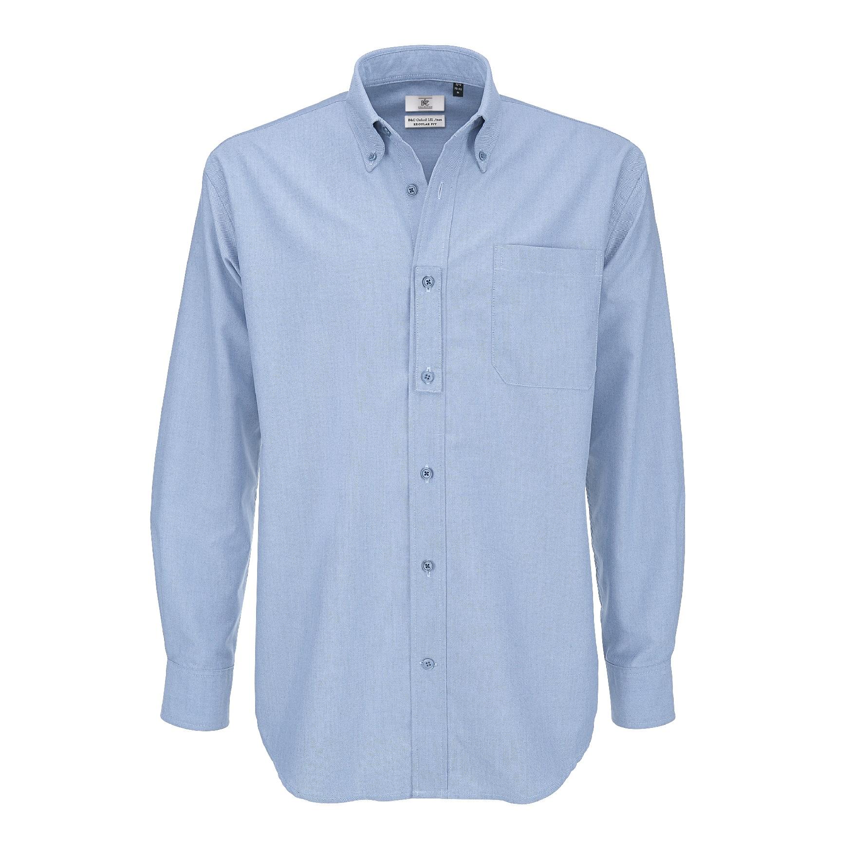 B/&C Mens Oxford Long Sleeve Shirt//Mens Shirts